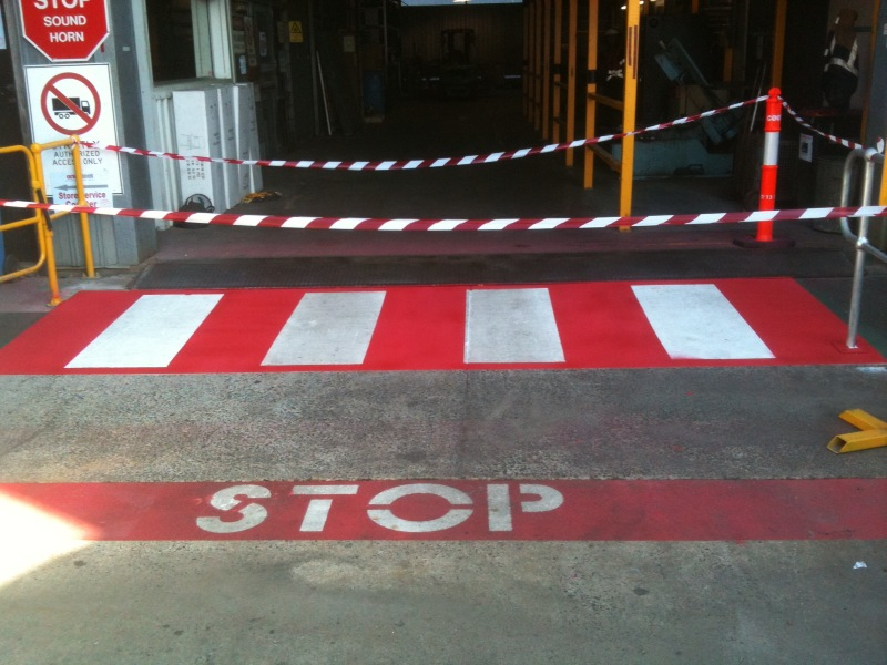 Pedestrian crossing at workshop